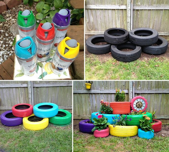 recycled-tires-garden-planter-collage